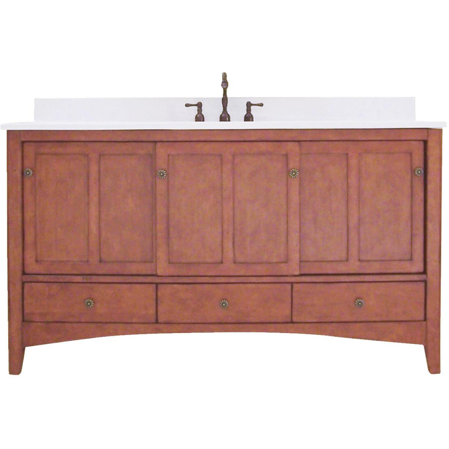 Sunny Wood Expressions Warm Cinnamon 60 In. W x 34 In. H x 21-1/2 In. D Vanity Base, 3 Door/3 Drawer Image 1