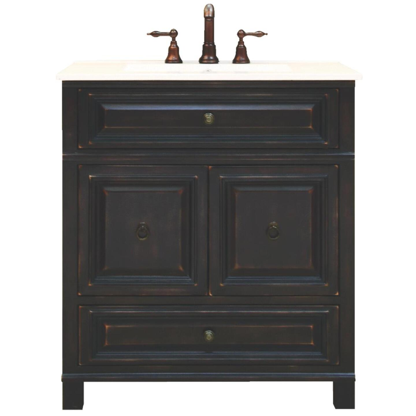 Sunny Wood Barton Hill Black Onyx 30 In. W x 34 In. H x 21 In. D Vanity Base, 2 Door/1 Drawer Image 1