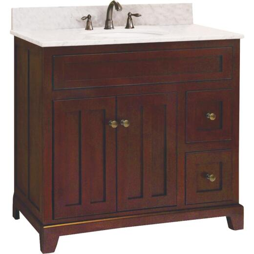 Sunny Wood Grand Haven Cherry 36 In. W x 34 In. H x 21 In. D Vanity Base, 2 Door/2 Drawer