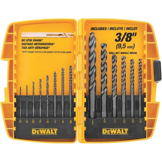 DeWalt 14-Piece Black Oxide Drill Bit Set, 1/16 In. thru 3/8 In.
