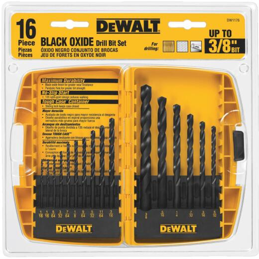 DeWalt 16-Piece Black Oxide Drill Bit Set, 1/16 In. thru 3/8 In.