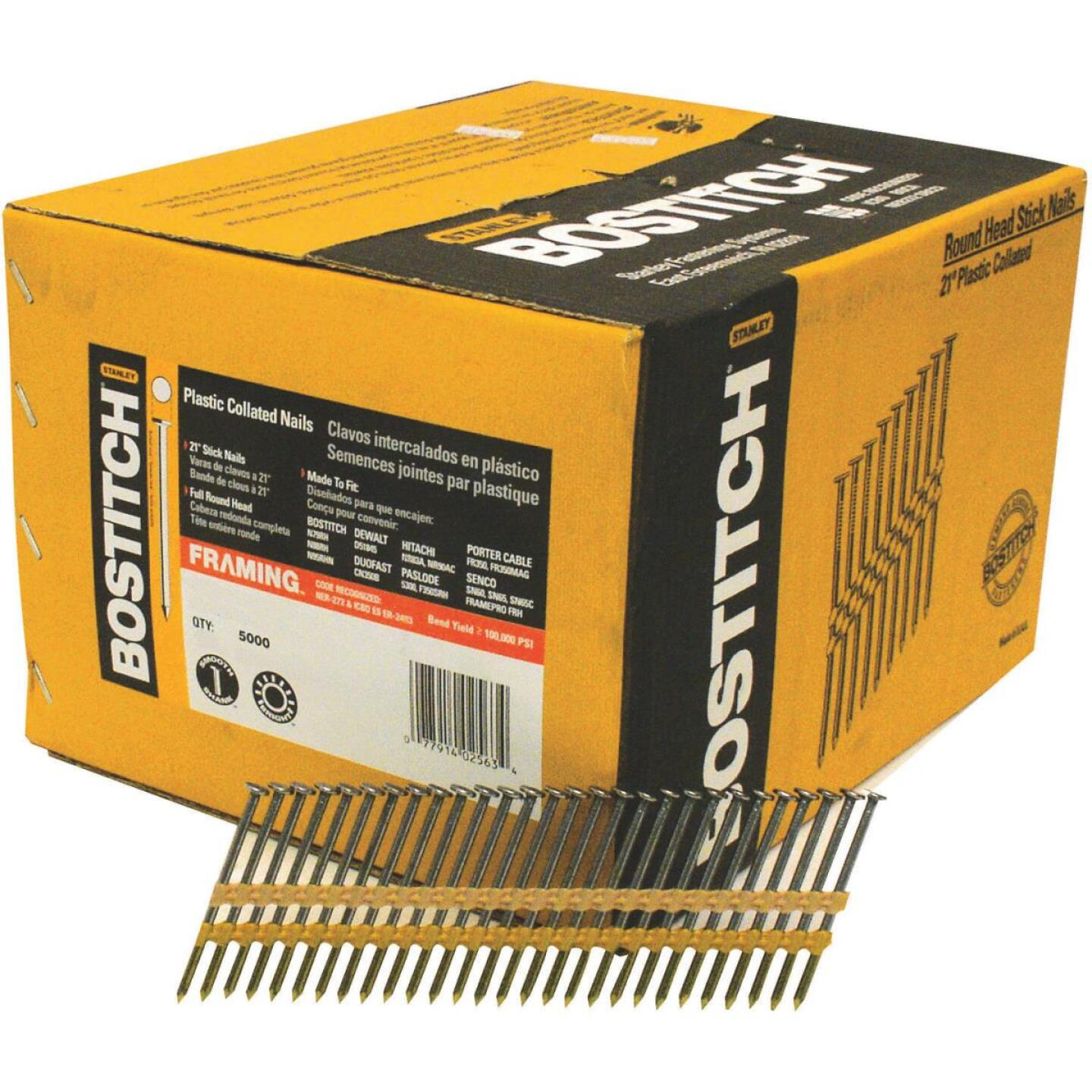 Bostitch 21 Degree Plastic Strip Hot-Dipped Galvanized Full Round Head Framing Stick Nails, 2-3/8 In. x .113 In. (5000 Ct.) Image 1