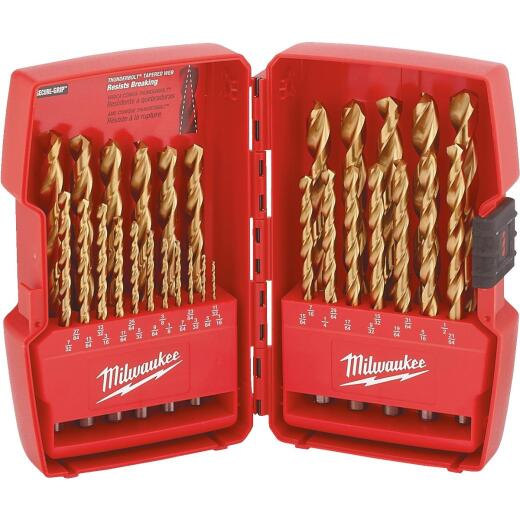 Milwaukee Thunderbolt 29-Piece Titanium Drill Bit Set, 1/16 In. thru 1/2 In.