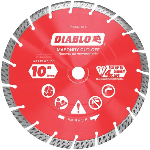 Diablo 10 In. Segmented Turbo Rim Dry/Wet Diamond Blade