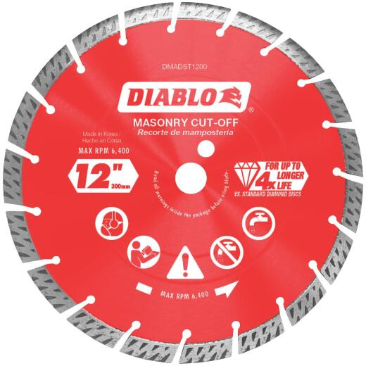 Diablo 12 In. Segmented Turbo Rim Dry/Wet Diamond Blade