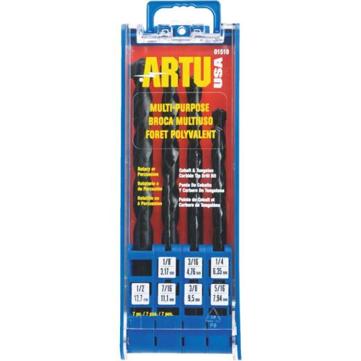 ARTU 7-Piece  Cobalt & Tungstel Multi-Purpose Drill Bit Set, 1/8 In. thru 5/16 In.
