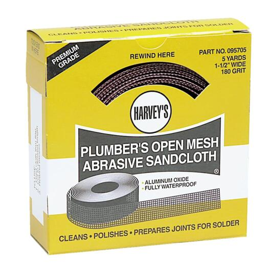 Harvey 1-1/2 In. x 6 Yd. 180-Grit Plumber's Open Mesh Abrasive Sand Cloth