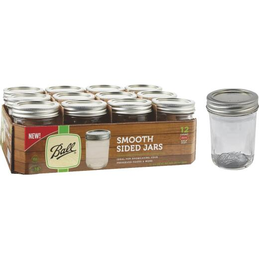 Ball 1/2 Pint Regular Mouth Smooth-Sided Silver Lid Canning Jar (12-Count)
