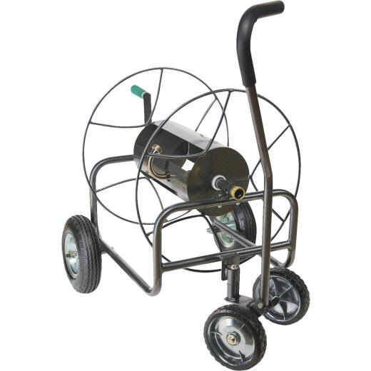 Yard Butler 400 Ft. x 5/8 In. Hammered Gun Metal Gray Steel 4-Wheel Portable Hose Reel