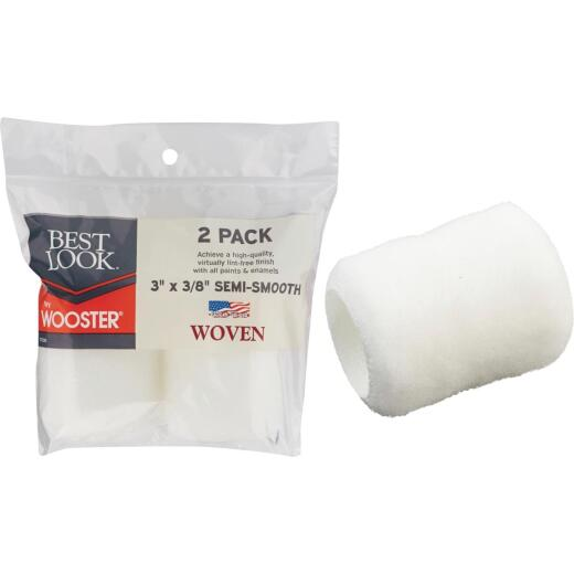 Best Look By Wooster 3 In. x 3/8 In. Woven Fabric Roller Cover (2-Pack)